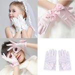Kinderhandschoenen zijde met strik