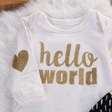 "Babykleding set glitter 3dlg ""hello world"""