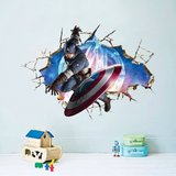3D muursticker 'Captain America'