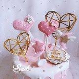 Verjaardagstaart/geboortetaart taartsteker glitter hart