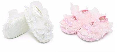 Baby (doop)schoentjes met zijden roosjes