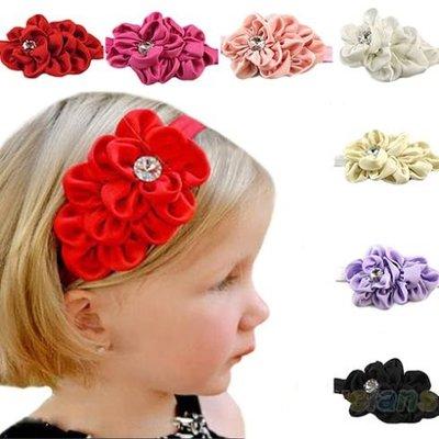 Haar/hoofdband satijn bloem
