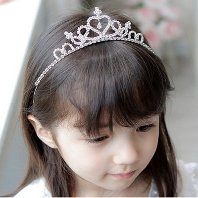 Kindertiara/kroon hart strass