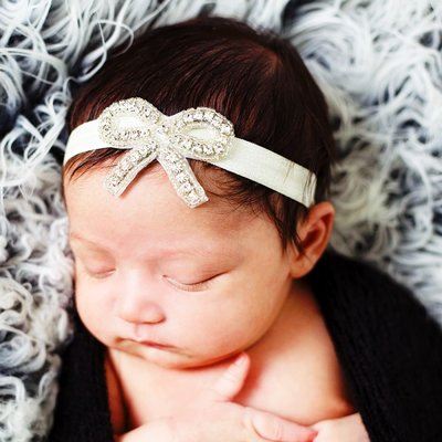 Baby/kinderen hoofdband strik met strass