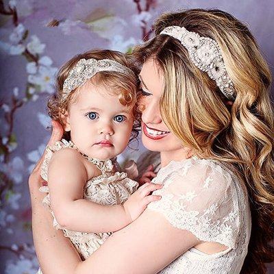 Baby/kind strass hoofdbanden set mama en me