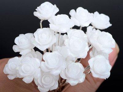 Haarpinnen witte glitter roos