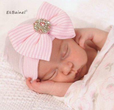 Newborn babymutsjes met katoenen strik en strass