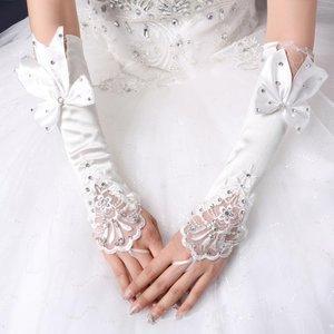 Lange handschoenen communie/bruidsmeisje steentjes