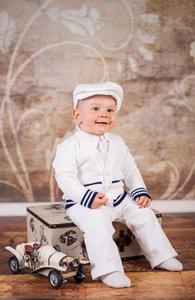 Artex babykostuum met sweater navy